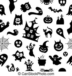 Abstract pattern seamless vector pattern background. Set of silhouettes of Halloween on a white background. Great for fabric, paper, web banners, wallpapers.