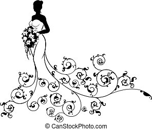 Abstract Pattern Wedding Bride Silhouette