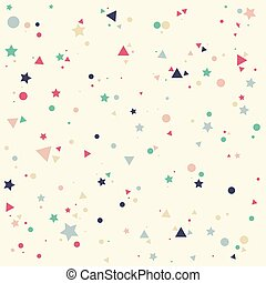 Abstract pattern with pastels colorful blue, gray, pink, orange  small circles, stars and triangles on yellow background. Infinity geometric. Vector