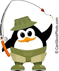Abstract penguin in fishing rubber boots, hat and fishing...