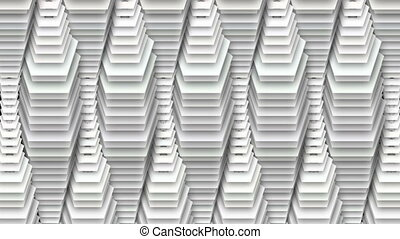 """An op art 3d rendering of abstract white drop decor with riding down pentagons with holes in centers shaping lengthy tubes thick in the middle and thin in the ends in the black background."""