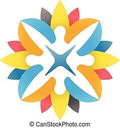 Three people community logo abstract vector symbol vectors abstract people community sciox Images