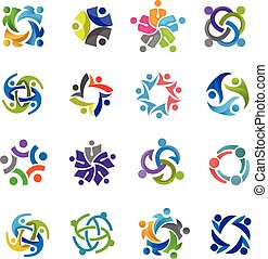 abstract people community logo set