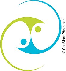 Abstract people cooperation - team work icon