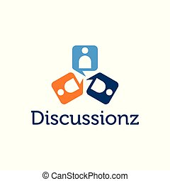 Abstract people figure chat icon discussions logo vector
