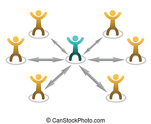Teamwork - Abstract people figures with arrows showing ...