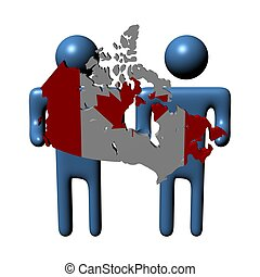 people holding Canadian map flag illustration