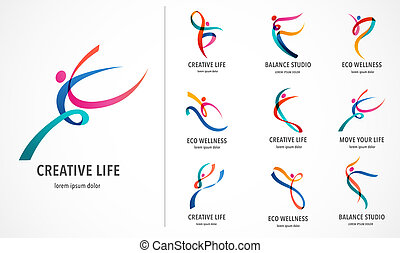 Abstract people logo design. Gym, fitness, running trainer vector colorful logo. Active Fitness, sport, dance web icon and symbol
