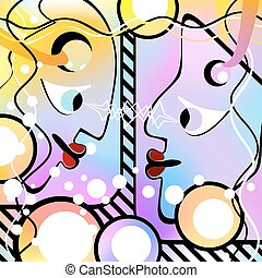 Abstract people look at each other. Motley Version