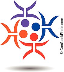 Abstract People Unity Vector Logo