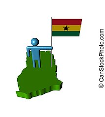 Abstract person with flag on Ghana map illustration