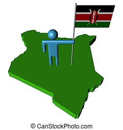 abstract person with flag on Kenya map illustration