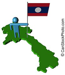 abstract person with flag on Laos map illustration