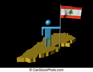 Abstract person with flag on Lebanon map illustration