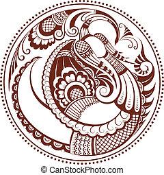 Abstract phoenix bird. Vector mehndi pattern