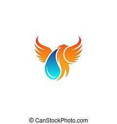 abstract phoenix with water drop symbol