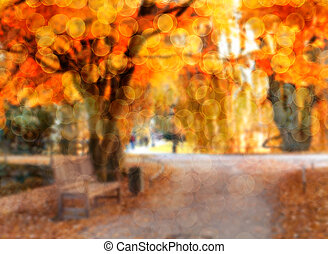 Abstract photo of autumn alley in t