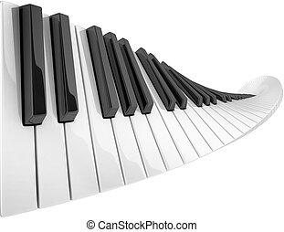 abstract piano keyboard wave  3d illustration