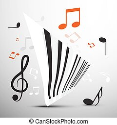 Abstract Piano Keyboard with Notes. Vector Music Symbol.