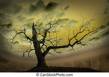 Abstract picture with bare tree and yellow background