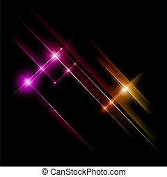 Abstract pink and yellow rays lights. Vector
