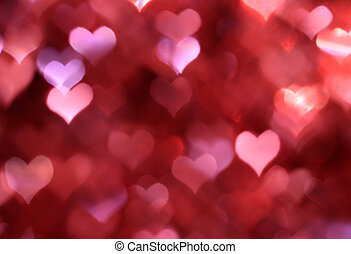 Abstract pink background with heart-shaped boke - Abstract...