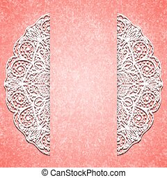 Abstract pink background with white lacy mandala pattern....