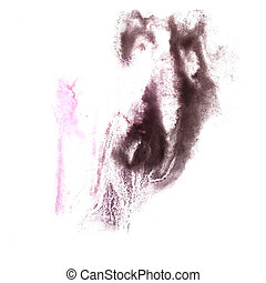 abstract Pink, black drawing stroke ink watercolor brush water