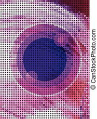 Abstract pink eye from dot pattern