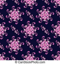 abstract pink flowers on dark background seamless pattern vector illustration