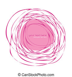 Abstract pink frame - Hand drawn abstract frame with place...