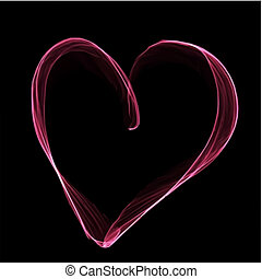 Abstract pink heart on black background. Vector