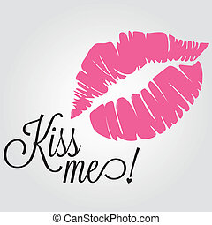 abstract pink kiss me and text on white background