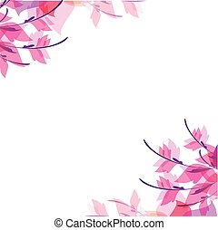 Abstract Pink Leaves Flowers White Background Vector Image