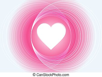 Abstract pink light circle with heart vector background