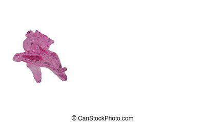 Abstract pink liquid flow on white background.
