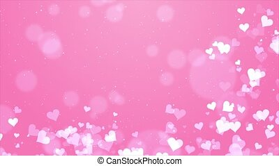 Abstract Pink Moving Flying Hearts and Particles Valentine's day Loop background.