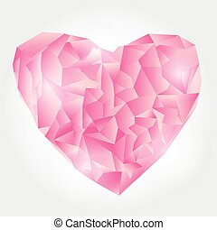 Abstract Pink Polygonal heart. Vector Illustration on white background