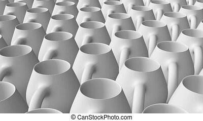 Abstract pitchers in rows in white