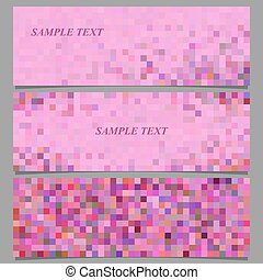 Abstract pixel square mosaic banner design set