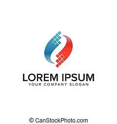 abstract pixel technology logo design concept template