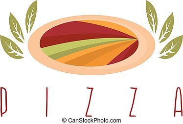 abstract pizza with leaves vector design template
