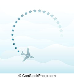 Abstract plane in the sky vector background with copy space.