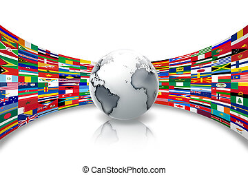flags of the world - abstract planet against a background of...