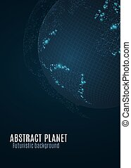 Abstract planet earth. Blue glowing map of small dots. Dark futuristic background. Space concept. High tech. World map. Global network connection. Vector illustration