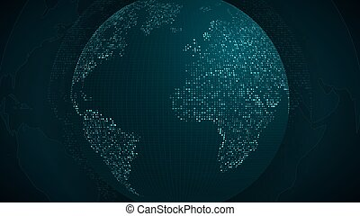 Abstract planet earth. Blue map of the earth from the square points. Dark background. Blue glow. High tech. World map. Global network connection. Vector