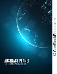 Abstract planet earth. Glowing map of small square dots. Futuristic background. Space composition. Blue sunrise. High tech. World map. Global network connection. Vector illustration