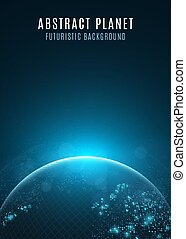 Abstract planet earth. Glowing map of square dots. Futuristic dark background. Space composition. Blue sunrise. High tech. World map. Global network connection. Vector illustration