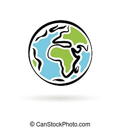 Abstract planet earth icon isolated on white background. Vector illustration.