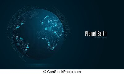 Abstract planet on a dark blue background. Earth. World map. Blue light. Sci-fi and hi-tech. Big cities. Map of points. The world population. World Network. Vector